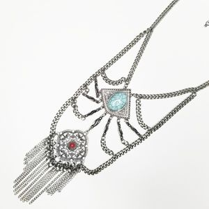 Silver Aztec Festival Layered Necklace